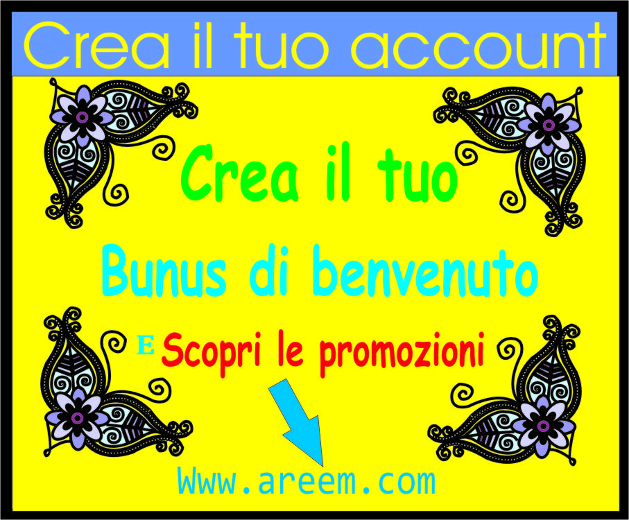 Crea il tuo account per usufruire di tutte le promozioni in corso